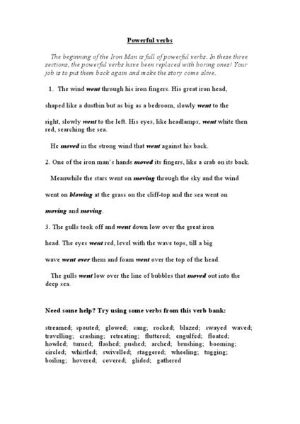 Printables Vivid Verbs Worksheet list of strong verbs 5th grade 4th math worksheet vivid pictures strong