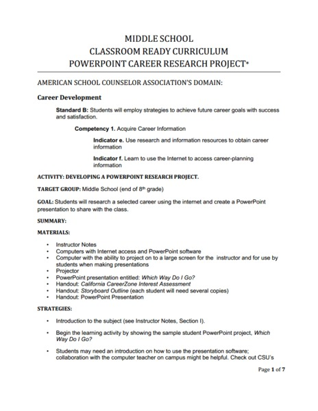 career research paper lesson Career activities thinking about any research project is easier to do if we take the time to plan what we need to accomplish career bingo lesson plan.