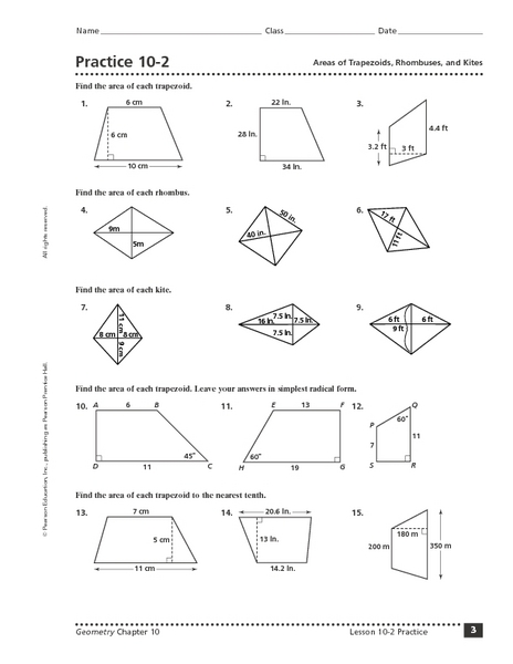 Worksheet Area Of A Trapezoid Worksheet practice 10 2 areas of trapezoids rhombuses and kites 9th 11th grade worksheet lesson planet