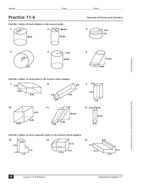 Practice 11-4 Volumes of Prisms and Cylinders 8th - 12th Grade ...