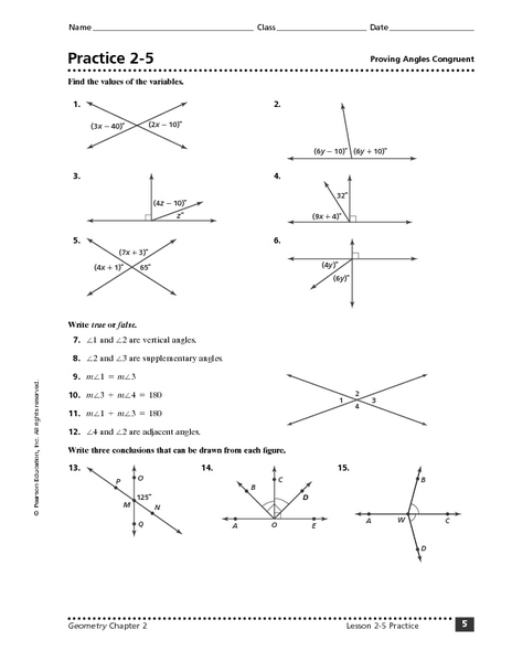 Practice 2-5: Proving Angles Congruent 8th - 9th Grade Worksheet ...