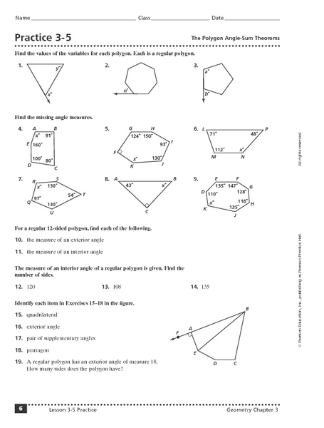 Worksheets Angles Of Polygons Worksheet practice 3 5 the polygon angle sum theorem 9th 11th grade worksheet lesson planet