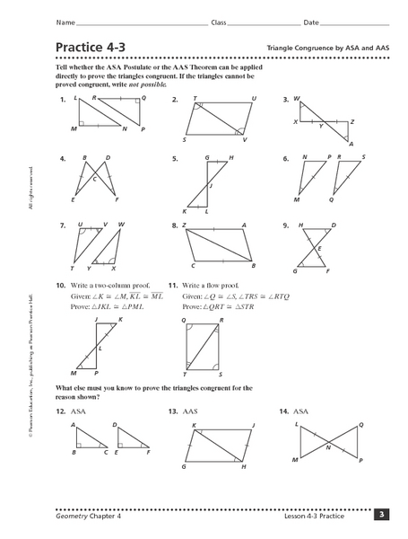 Worksheet Triangle Congruence Worksheet practice 4 3 triangle congruence by asa and aas 9th 11th grade worksheet lesson planet