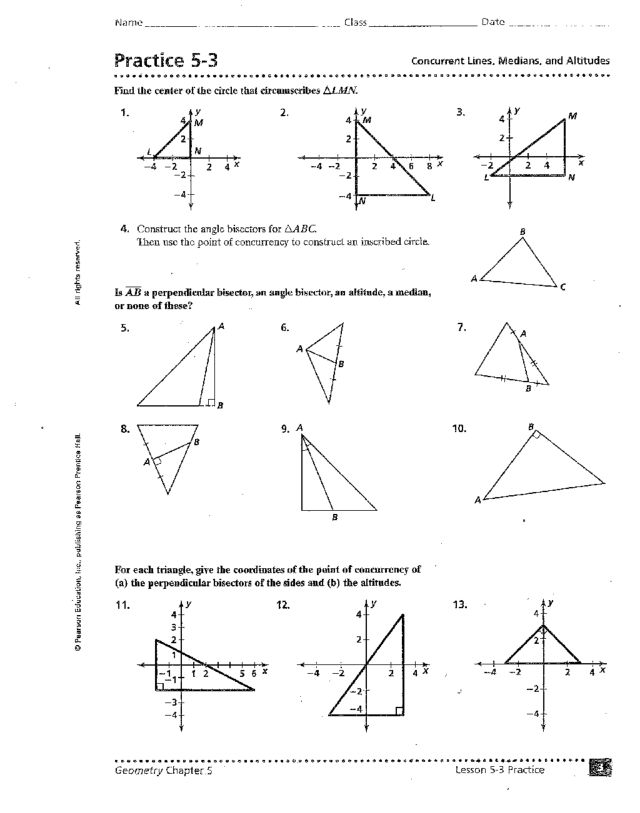 Perpendicular And Angle Bisector Worksheet Answers - Worksheets