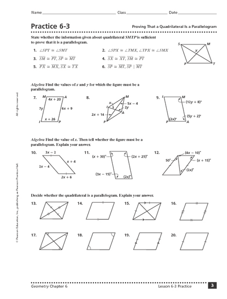 Printables Properties Of Parallelograms Worksheet practice 6 3 proving that a quadrilateral is parallelogram 10th 12th grade worksheet lesson planet