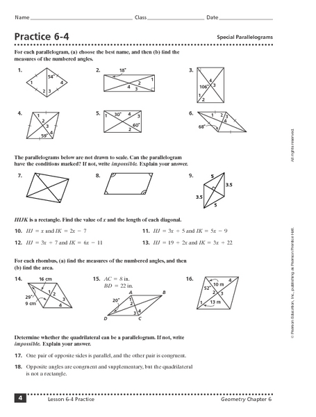 Practice 6-4: Special Parallelograms 10th - 11th Grade Worksheet ...