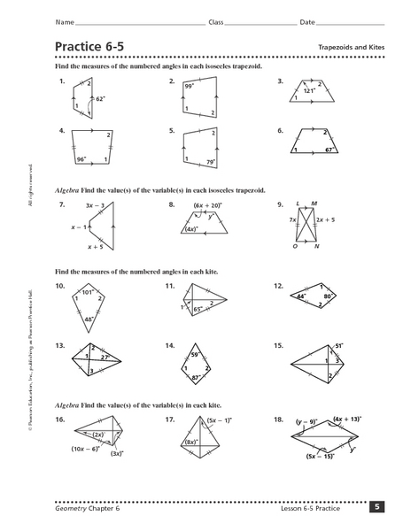 Area of triangles parallelograms and trapezoids worksheet answers