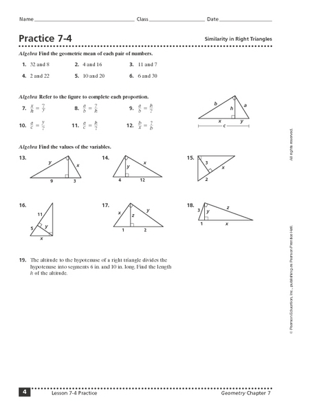 Similar Right Triangles Worksheet. Lesupercoin Printables ...