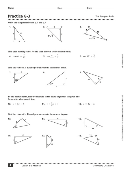 Worksheets Tangent Ratio Worksheet practice 8 3 the tangent ratio 9th 11th grade worksheet lesson planet