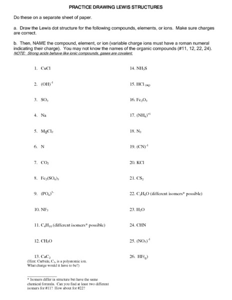 Printables Lewis Structure Worksheet lewis structure practice worksheet precommunity printables worksheets drawing structures 9th 12th grade lesson planet