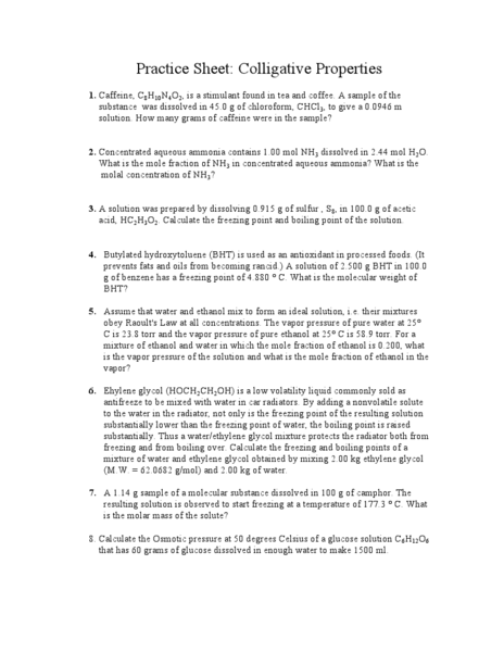 Printables Colligative Properties Worksheet colligative properties worksheet with work lab more complex