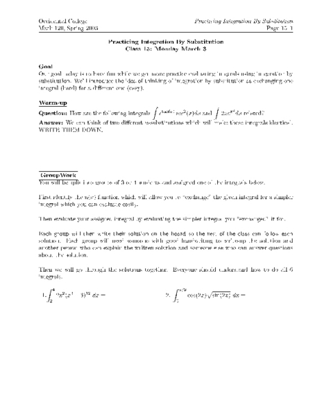 Printables Integration By Substitution Worksheet integration by substitution worksheet page1 jpg parts practicing higher ed lesson plan