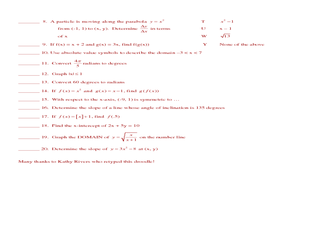 Worksheet Pre Calc Worksheets precalculus droodle review sheet 10th 12th grade worksheet lesson planet