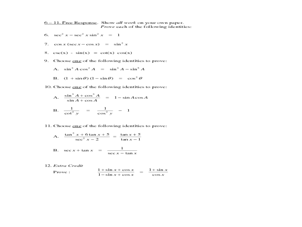 Printables Precalculus Worksheets precalculus test sections 5 1 2 10th 12th grade worksheet lesson planet
