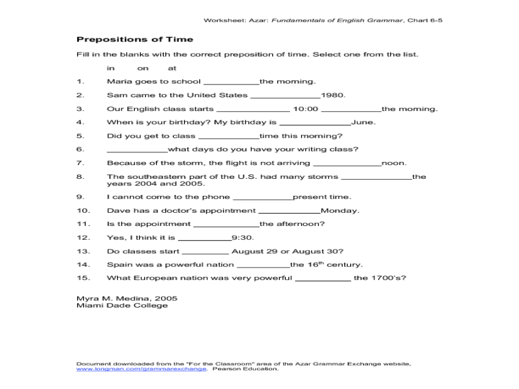worksheet Prepositions Of Time Worksheet Luizah Worksheet And – Prepositions of Time Worksheet