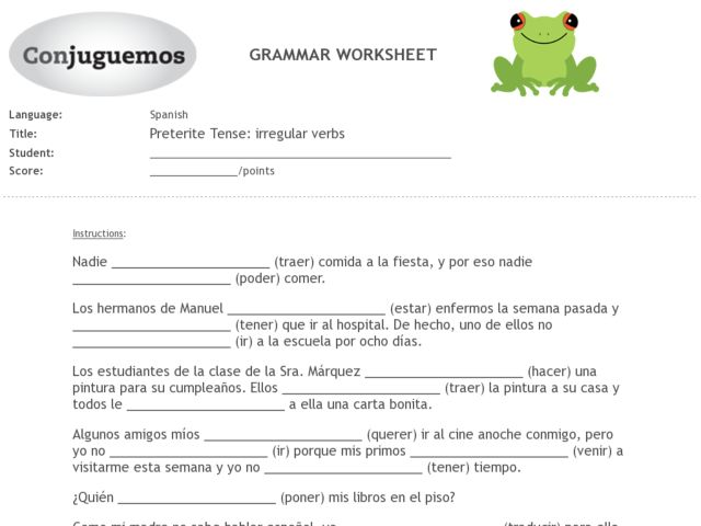 Worksheets Preterite Worksheet spanish preterite stem changing verbs worksheet intrepidpath tense irregular 7th 9th grade worksheet