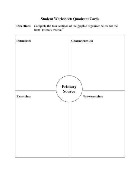 Worksheets Primary And Secondary Sources Worksheet primary source quadrant cards 6th 12th grade worksheet lesson planet