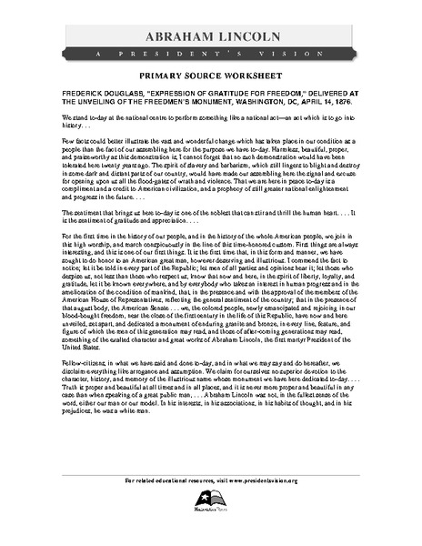 Printables Frederick Douglass Worksheet primary source worksheet frederick douglass of gratitude for 8th 11th grade worksheet