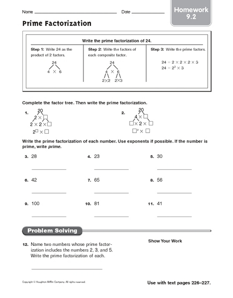Free worksheets factor trees prime factorization