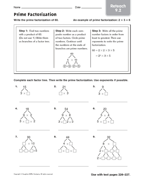 Prime Factorization- Reteach 9.2 4th - 6th Grade Worksheet ...