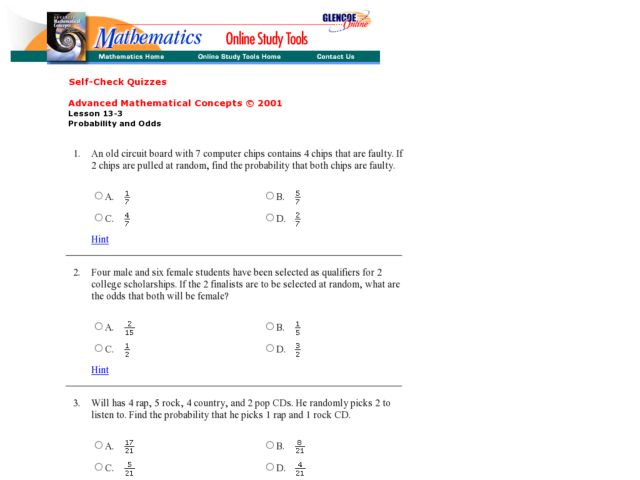 Probability and Odds 6th - 9th Grade Worksheet | Lesson Planet