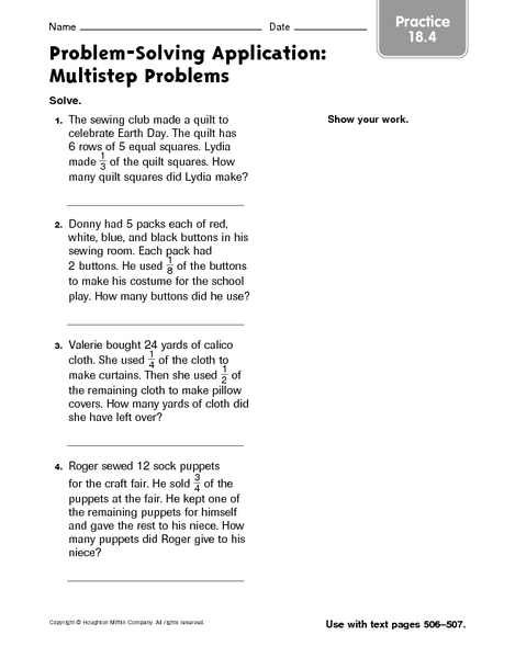 Multi step fraction word problems 5th grade worksheets