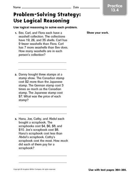 math worksheet : problem solving strategy use logical reasoning practice 13 4 3rd  : Math Reasoning Worksheets