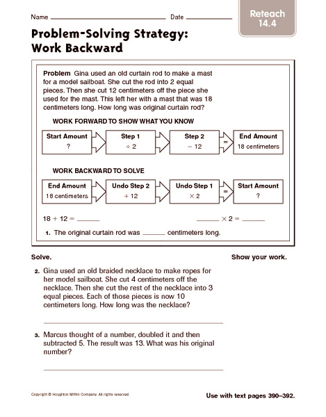 math worksheet : problem solving strategy work backward reteach 5th  6th grade  : Math Problem Solving Strategies Worksheets