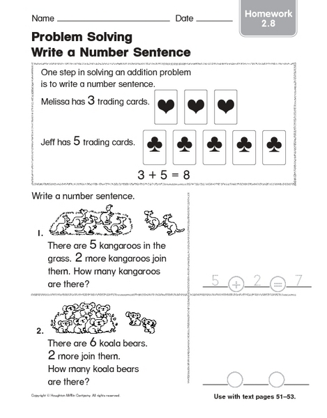 Counting Number worksheets » Writing Addition Number Sentences ...