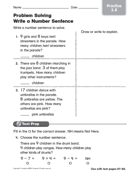 Printables Number Sentence Worksheets 2nd Grade number sentence worksheets 2nd grade versaldobip sentences addition with pictures