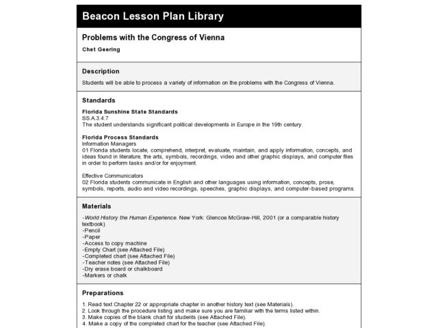 story list and lesson plan
