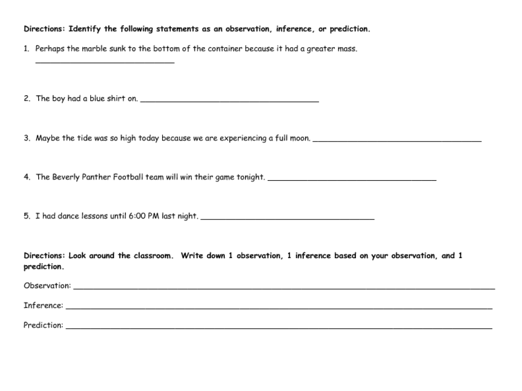 Worksheet Observation And Inference Worksheet process skills review observation inference and predictions 4th 6th grade worksheet lesson planet