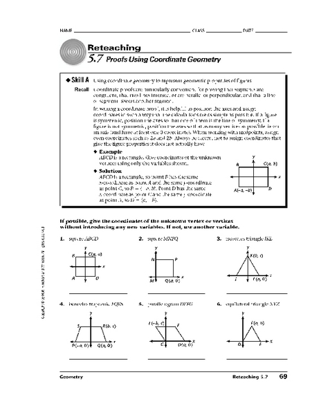 Coordinate Geometry Proofs Worksheets