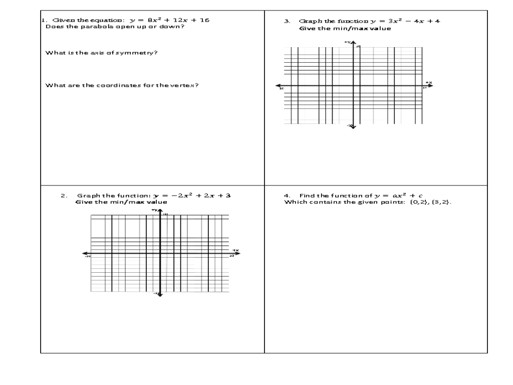 worksheet Parabola Worksheet properties of a parabola 8th 10th grade worksheet lesson planet