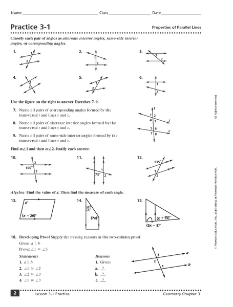 Printables Parallel Lines And Transversals Worksheet properties of parallel lines 10th grade worksheet lesson planet