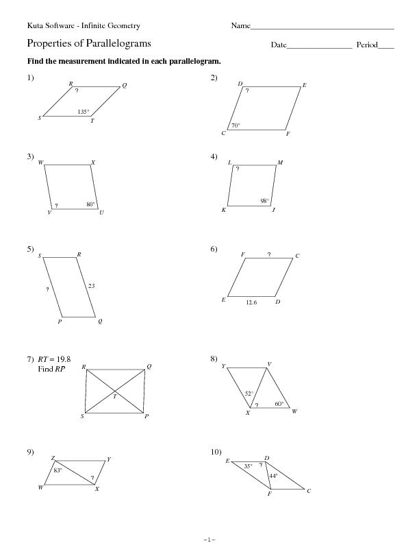 Properties Of Parallelograms Worksheet - andrewgarfieldsource