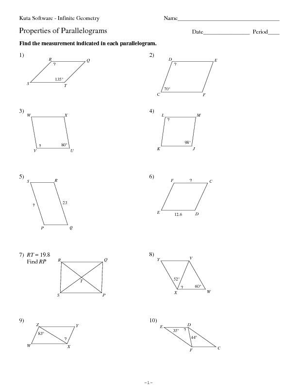 Printables Properties Of Parallelograms Worksheet properties of parallelograms 10th grade worksheet lesson planet