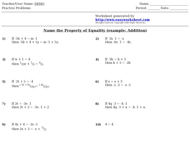 Printables Identifying Algebraic Properties Worksheet printables identifying algebraic properties worksheet math of equality worksheets intrepidpath property 7th 10th grade worksheet
