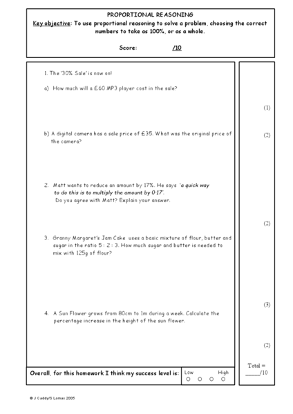 Printables Proportional Reasoning Worksheets proportional reasoning 7th 10th grade worksheet lesson planet