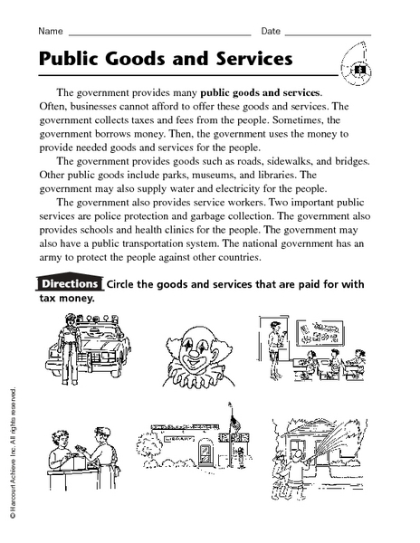 Public Goods and Services 2nd - 4th Grade Worksheet | Lesson Planet