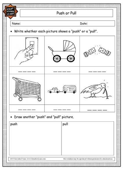 Worksheet Push And Pull Worksheets push or pull 2nd 3rd grade worksheet lesson planet