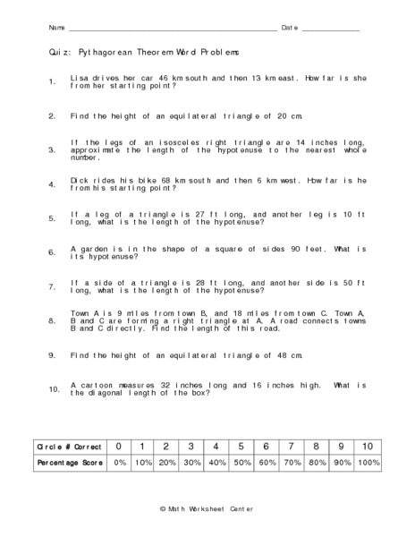 Printables Pythagorean Theorem Word Problems Worksheet pythagorean theorem word problems 10th grade worksheet lesson planet