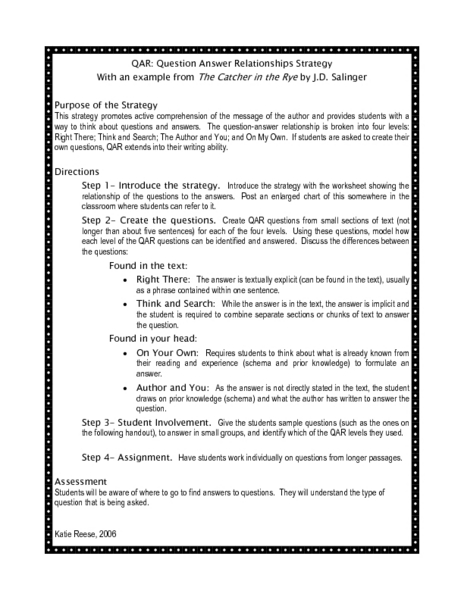 Printables Question Answer Relationship Worksheet question answer relationship worksheet qar worksheet