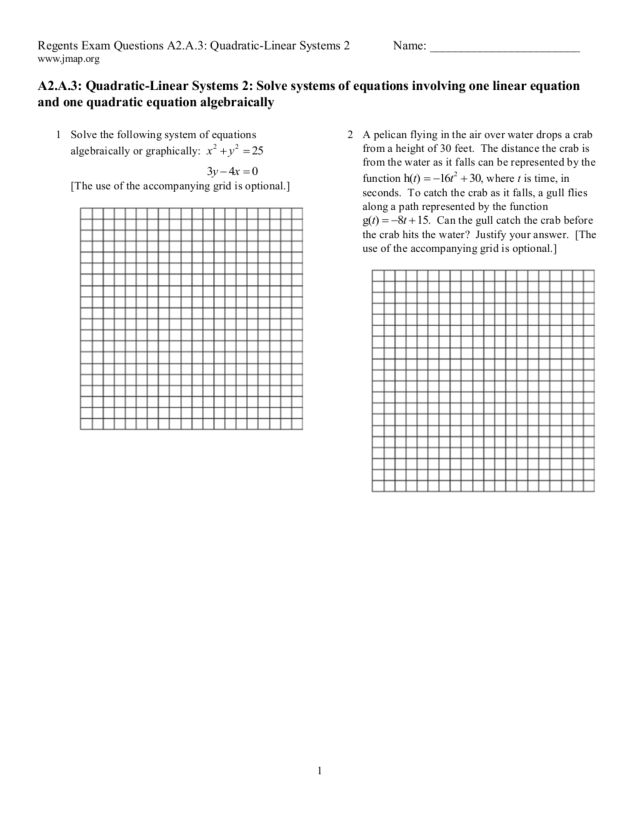 Systems Of Linear And Quadratic Equations Worksheet Jennarocca – Systems of Linear and Quadratic Equations Worksheet