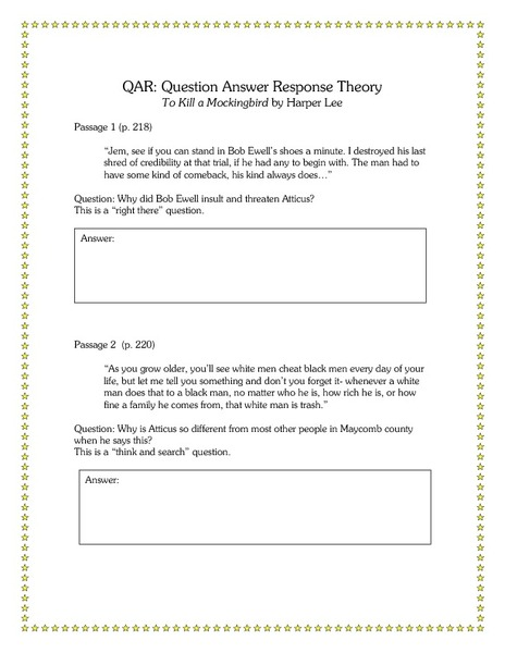 questions answers for tkam A post-reading quiz: what is scout's full name, who taught scout to read (chapter 1), who taught scout to write in cursive (chapter 1), why does mr c.