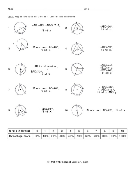 Printables Inscribed Angles Worksheet quiz angles and arcs in circles central inscribed 10th 12th grade worksheet lesson planet
