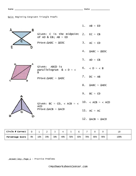 Geometry proving triangles congruent worksheet with answers