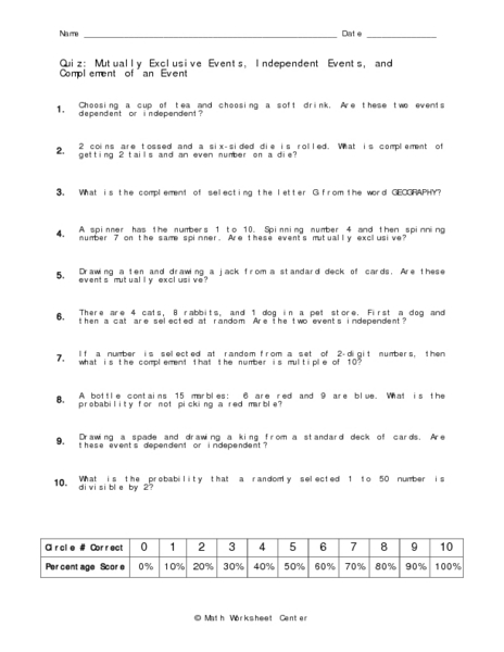Worksheets Probability Independent And Dependent Events Worksheet With Answers independent and dependent events worksheet answers probability of worksheet