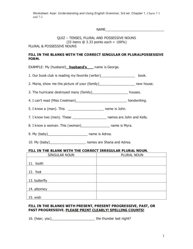 ... nouns 5th 8th grade : Plural Possessive Nouns Worksheets For 4th Grade
