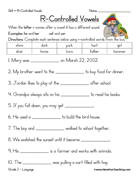 Controlled Vowels 2nd - 4th Grade Worksheet | Lesson Planet